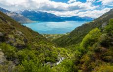 Rock-Climbing-Queenstown-Remarkables-Alpine-wye creek green vegetation and lake